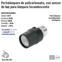 Portalámpara de Policarbonato con Sensor de Luz para Lámpara Incandescente VOLTECK