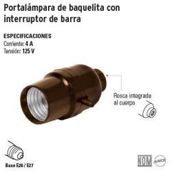 Portalámpara de Baquelita con Interruptor de Barra VOLTECK