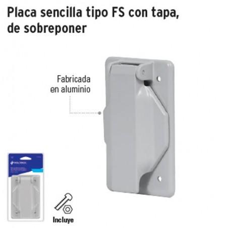 Placa Sencilla Tipo FS con Tapa de Sobreponer