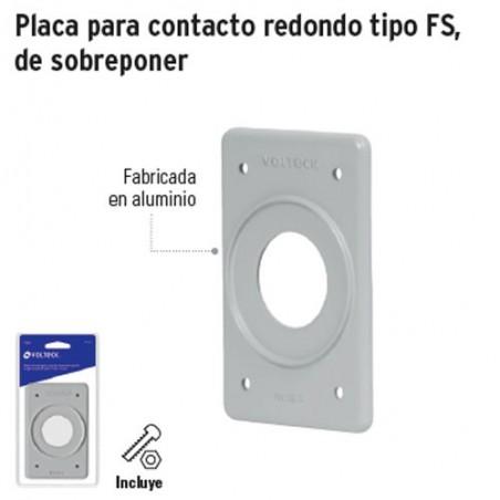 Placa para Contacto Redondo Tipo FS de Sobreponer VOLTECK