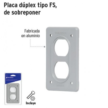 Placa Dúplex Tipo FS de Sobreponer VOLTECK