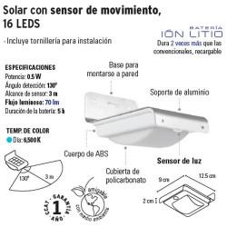 Arbotante Solar con Sensor de Movimiento 16 LEDS VOLTECK