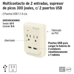 Multicontacto de 2 Entradas Supresor de Picos 300 Joules con 2 Puertos USB VOLTECK