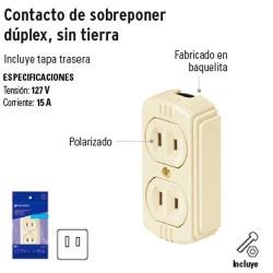 Contacto de Sobreponer Duplex Sin Tierra VOLTECK