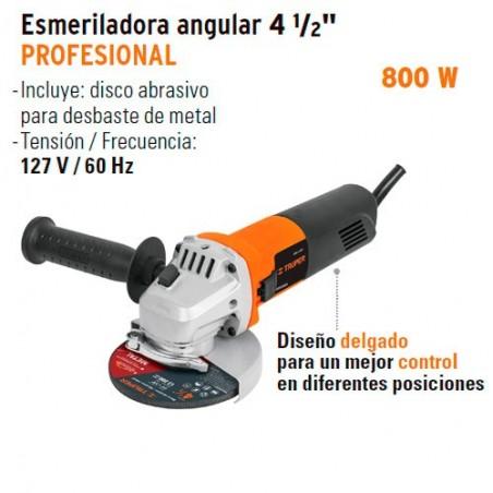 "Esmeriladora Angular 4 1/2"" 800 W Profesional TRUPER"