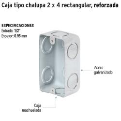 Caja Tipo Chalupa 2 x 4 Rectangular Reforzada VOLTECK