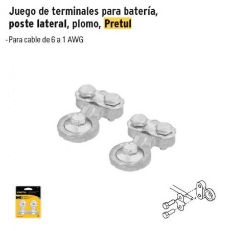 Juego de Terminales para Bateria, Poste Lateral, Plomo PRETUL