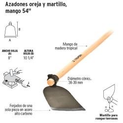 Azadones Oreja y Martillo, Mango 54'' TRUPER