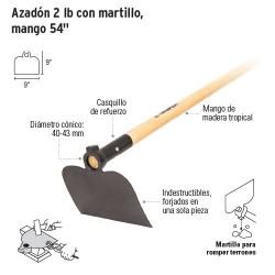 Azadón 2 lb con Martillo, Mango 54''