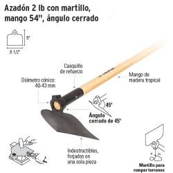 Azadon 2 lb con Martillo, Mango 54'' Angulo Cerrado