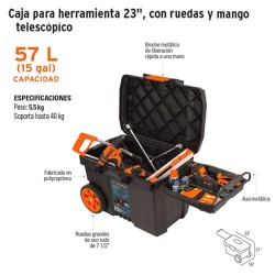 Caja para Herramienta 23'', con Ruedas y Mango Telescopico TRUPER