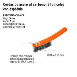 Cepillo de Alambre Cerdas de Acero al Carbono, 51 Pinceles con Espatula TRUPER