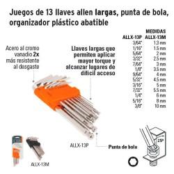 Juego de 13 Llaves Allen Largas Punta de Bola Organizador Plástico Abatible TRUPER