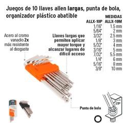 Juego de 13 Llaves Allen Largas Punta de Bola Organizador Plastico Abatible A