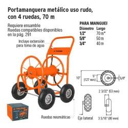 Portamanguera Metalico Uso Rudo con 4 Ruedas 70 m TRUPER