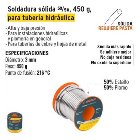 Soldadura Solida 50/50 450 g para Tuberia Hidraulica TRUPER