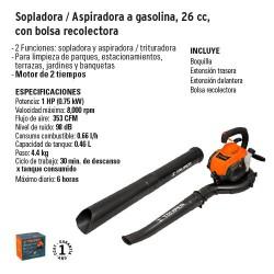Sopladora / Aspiradora a Gasolina 26 cc con Bolsa Recolectora TRUPER