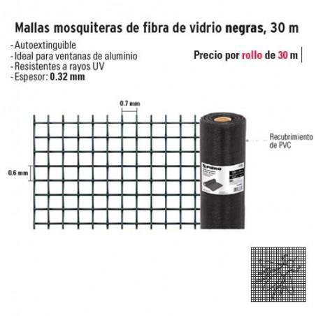 Mallas Mosquiteras de Fibra de Vidrio Negras 30 m FIERO