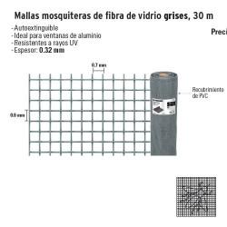 Malla Mosquitera de Fibra de Vidrio Grises 30 m FIERO