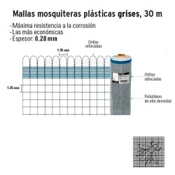Malla Mosquitera Plástica Gris 30 m FIERO