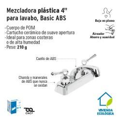 Mezcladora Plastica 4'' para Lavabo Basic ABS FOSET