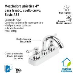 Mezcladora Plastica 4'' para Lavabo Cuello Curvo Basic ABS FOSET