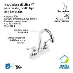 Mezcladora Plastica 4'' para Lavabo Cuello Tipo Bar Basic ABS FOSET