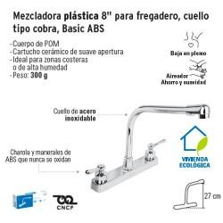 Mezcladora Plastica 8'' para Fregadero Cuello Tipo Cobra Basic ABS FOSET