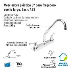 Mezcladora Plastica 8'' para Fregadero Cuello Largo Basic ABS FOSET