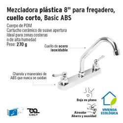Mezcladora Plastica 8'' para Fregadero Cuello Corto Basic ABS FOSET