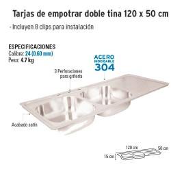 Tarja de Empotrar Doble tina 120 x 50 cm FOSET