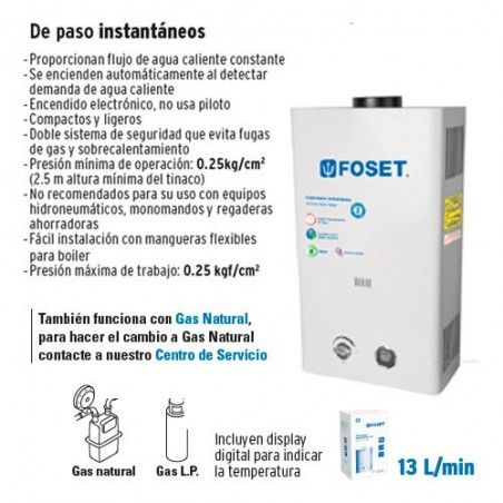 Calentador de Agua de Paso Instantaneo 13 L/min FOSET