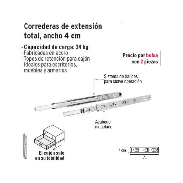 Correderas de Extension Total Ancho 4 cm HERMEX