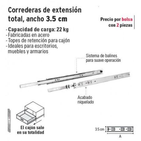 Corredera de Extension Total Ancho 3.5 cm HERMEX