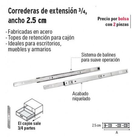 Corredera de Extension ¾ Ancho 2.5 cm HERMEX