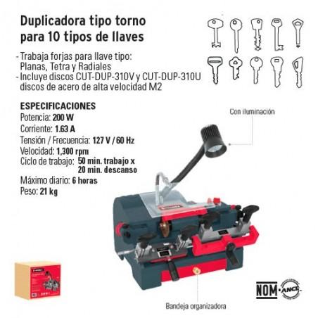 Duplicadora Tipo Torno para 10 Tipos de Llaves Hermex