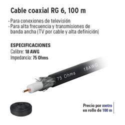 Cable Coaxial RG 6 100 m VOLTECK