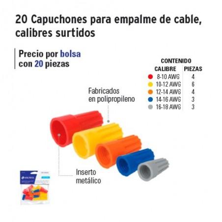 20 Capuchones para Empalme de Cable Calibres Surtidos VOLTECK