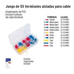 Juego de 55 Terminales Aisladas para Cable VOLTECK