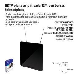 """HDTV Plana Amplificada 12"""" con Barras Telescópicas VOLTECK"""