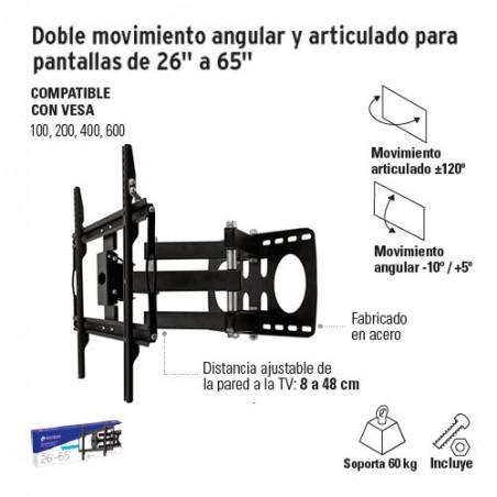 "Doble Movimiento Angular y Articulado para Pantallas de 26"" a 65"" VOLTECK"