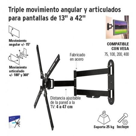 """Triple Movimiento Angular y Articulado para Pantallas de 13"""" a 42"""" VOLTECK"""
