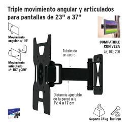 """Triple Movimiento Angular y Articulado para Pantallas de 23"""" a 37"""" VOLTECK"""