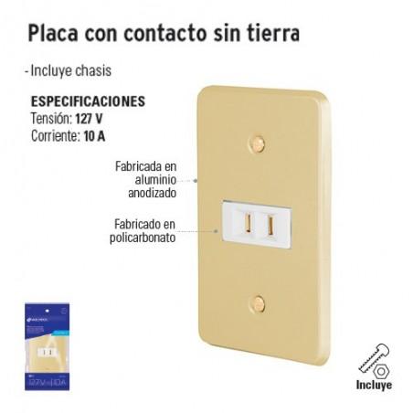 Placa con Contacto sin Tierra VOLTECK