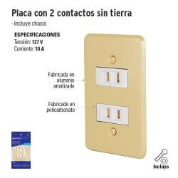 Placa con Dos Contactos sin Tierra VOLTECK