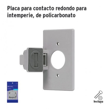 Placa para Contacto Redondo para Intemperie de Policarbonato VOLTECK