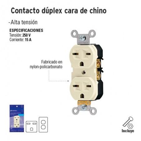 Contacto Dúplex Cara de Chino VOLTECK