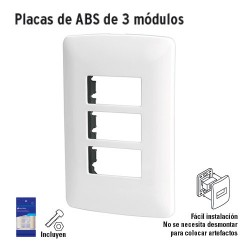 Placas de ABS de 3 Módulos VOLTECK