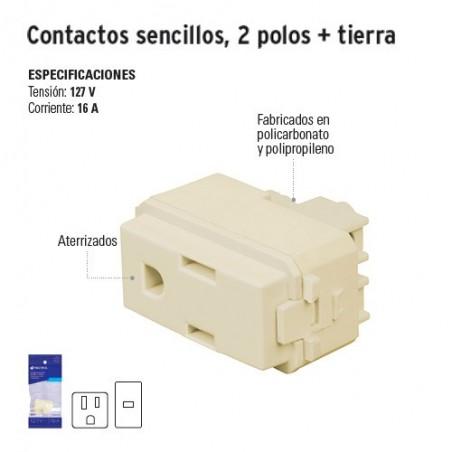 Contactos Sencillos 2 Polos + Tierra VOLTECK