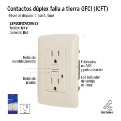 Contacto Dúplex Falla a Tierra GFCI (ICFT) VOLTECK